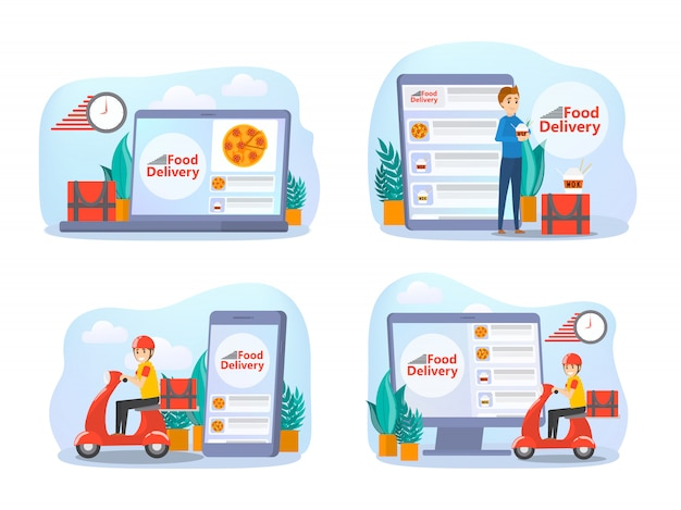 Insieme di concetto di consegna cibo online. ordine alimentare in internet. aggiungi al carrello, paga con carta e attendi il corriere. illustrazione
