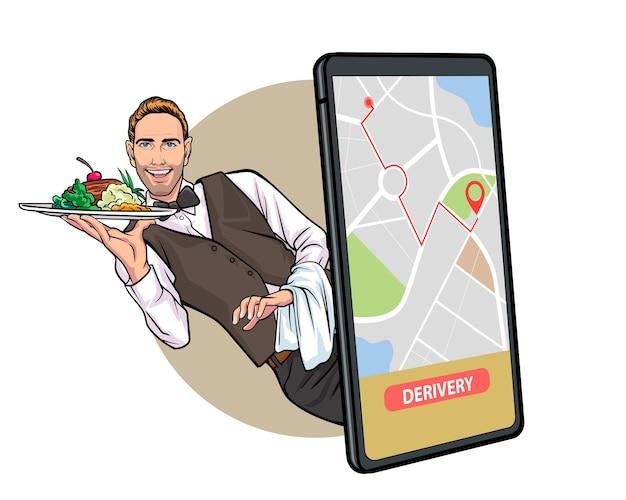 Consegna di cibo online da servizi di ristoranti e bar pop art comic style