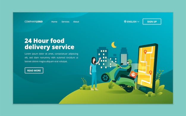 Modello di pagina di destinazione del servizio di consegna di cibo online