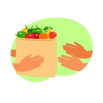 Ordinazione alimentare online. servizio di consegna sicura express senza contatto. pacchetto di carta con cibo fresco dal supermercato nelle mani dei guanti. attento alla salute. stile piatto.