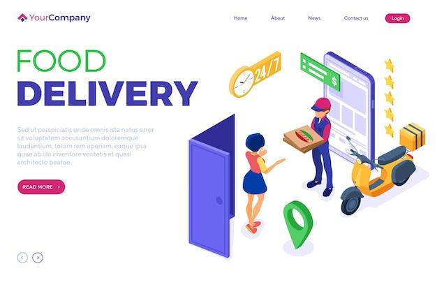 Pagina di destinazione isometrica del servizio di consegna e ordine di cibo online