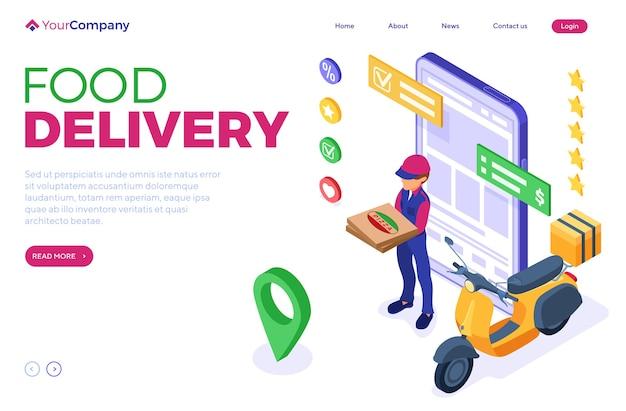 Ordine di cibo online e servizio di consegna con corriere isometrico e pizza
