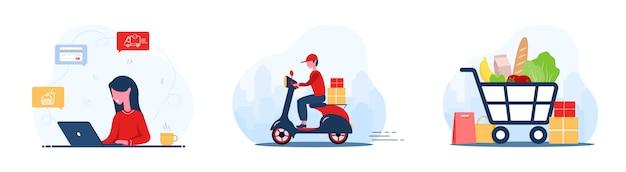 Ordine alimentare online. consegna di generi alimentari. un negozio donna in un negozio online. corriere veloce sullo scooter. carrello della spesa. resta a casa. quarantena o autoisolamento. stile cartone animato piatto