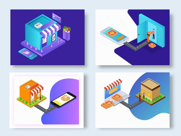 Raccolta di modelli di ordinazione di cibo online.