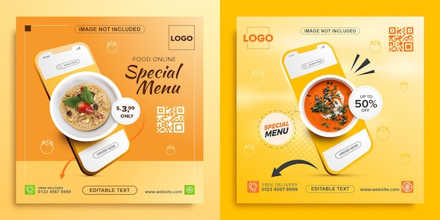 Promozione alimentare online con modello di banner quadrato mobile