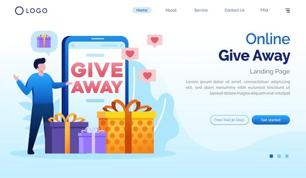 Online regalare modello piatto sito web di landing page