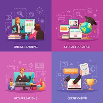 Composizioni di programmi di formazione globale online impostate in stile piatto