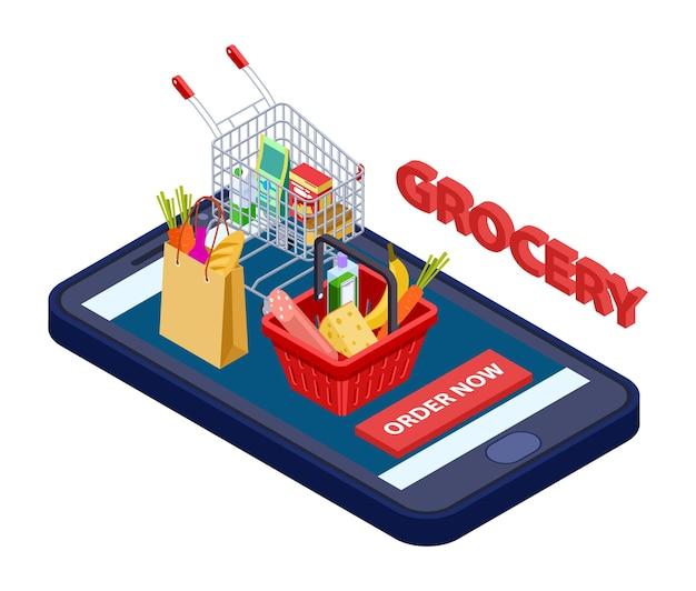 Concetto di drogheria online. app mobile vettoriale per negozio di alimentari con cibo, verdura, frutta. consegna di app, servizio di drogheria mobile, applicazione per l'acquisto di illustrazione
