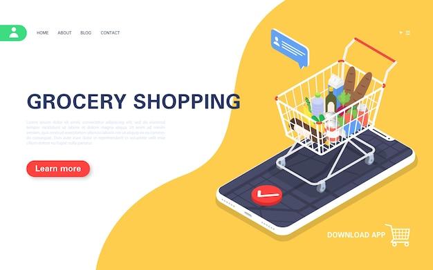 Fare la spesa online. applicazione mobile per ordinare prodotti e consegna a domicilio. illustrazione isometrica.