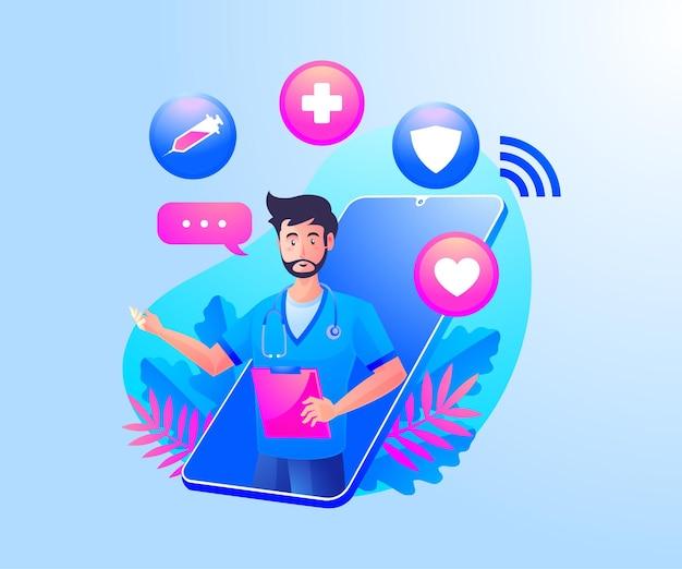 Consultazione sanitaria online con medici e uno smartphone mobile