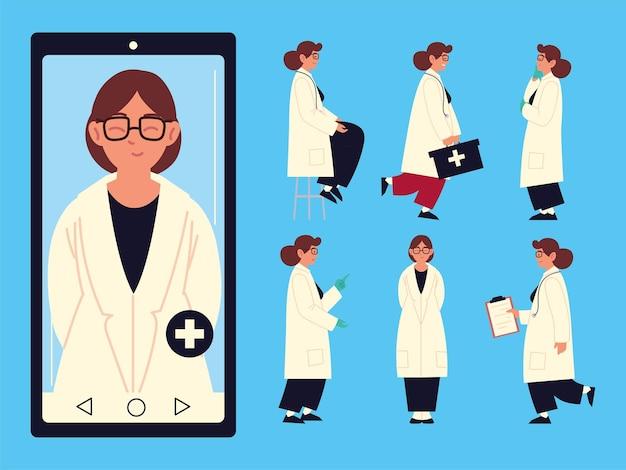 Donna di smartphone di medici sanitari online