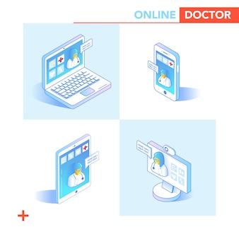 Concetto isometrico di assistenza sanitaria online. consultazione medica, applicazione diagnostica su smartphone, computer. tecnologia medica moderna con medico e paziente. illustrazione vettoriale