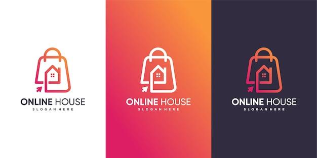 Modello di logo della casa online con un concetto moderno