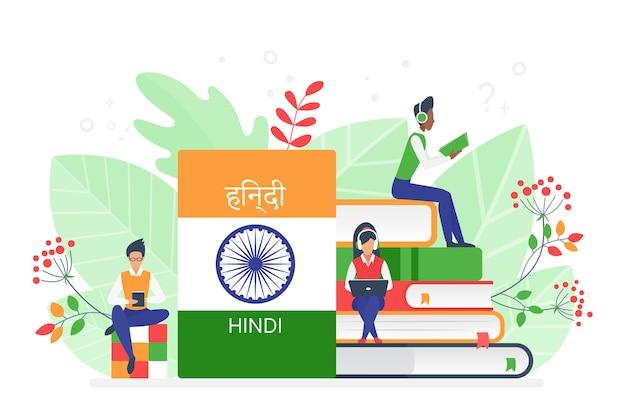 Corsi online di lingua indiana hindi per scuola remota o concetto universitario