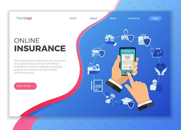 Modello di pagina di destinazione dei servizi assicurativi online
