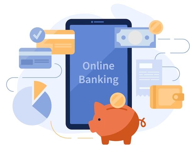 Applicazione per smartphone di internet banking online. monete, salvadanaio, portafoglio e carte di credito