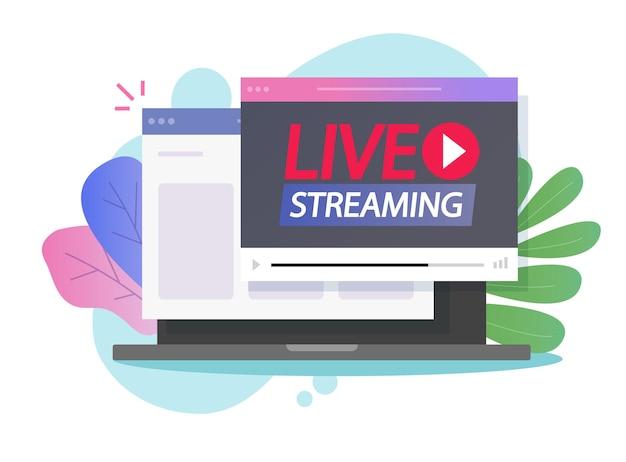 Streaming online in diretta su internet o trasmissione di video sulla pagina del browser web tramite computer