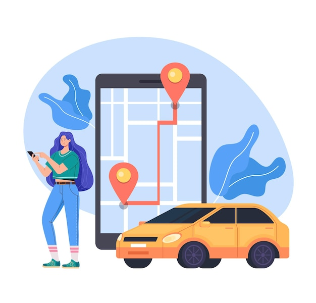 Illustrazione piana di concetto di servizio dell'automobile del taxi di app del telefono mobile di internet in linea