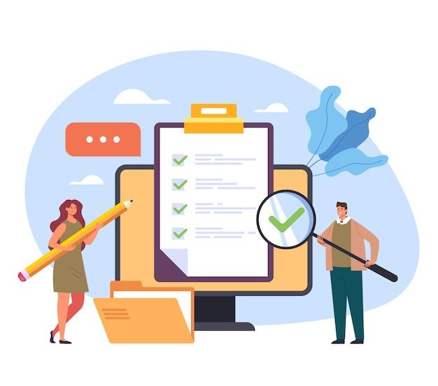 Online internet web questionario segno di spunta esame feedback test di formazione concetto di classe