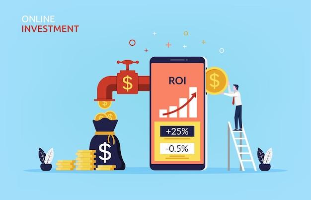 Concetto di investimento online con uomo d'affari che inserisce moneta nel telefono cellulare per fare più soldi simbolo.
