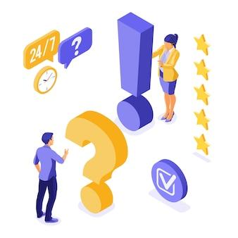 Banner di assistenza clienti isometrica online.