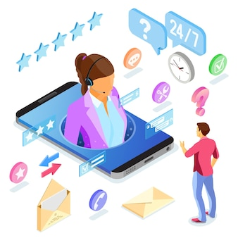 Concetto di assistenza clienti isometrica online. call center mobile con consulente femminile, auricolare, icone di chat.