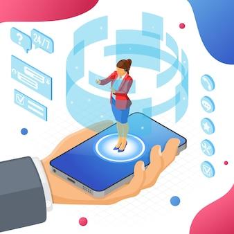 Concetto di assistenza clienti isometrica online. call center mobile con consulente femminile, auricolare, chat.