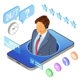 Concetto di assistenza clienti isometrica online. call center mobile con consulente uomo, auricolare, chat.