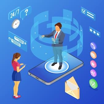 Concetto di assistenza clienti isometrica online. call center mobile con consulente uomo, auricolare, valutazione, telefono cellulare.