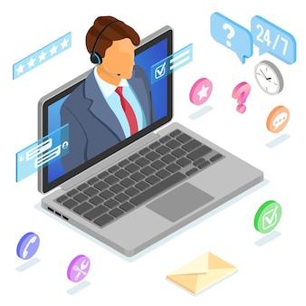Concetto di assistenza clienti isometrica online.