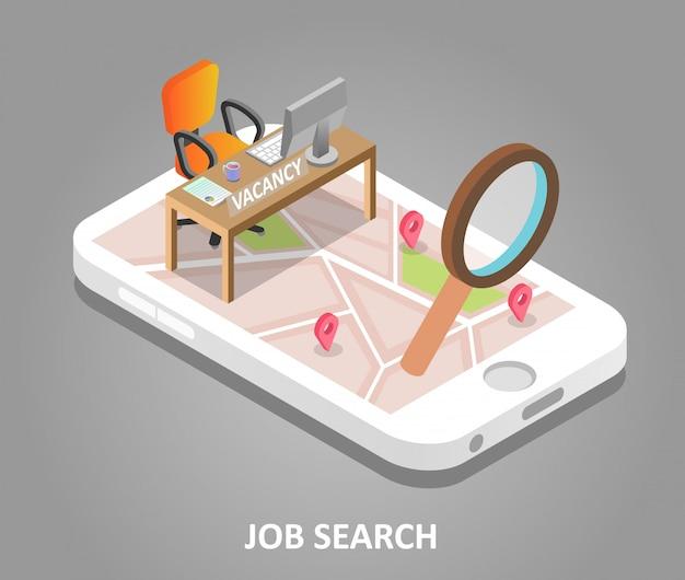 Illustrazione isometrica di vettore di ricerca di lavoro online