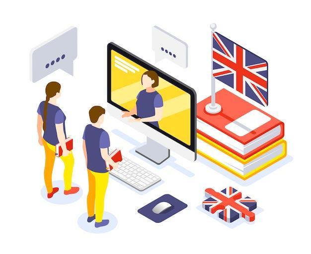Composizione isometrica del corso di lingua online con apprendimento dell'inglese con bandiera di libri di testo di lezioni interattive di tutor personale