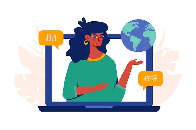 Concetto di corsi di lingua online