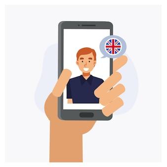 Concetto di apprendimento delle lingue online. chat dell'app mobile, videochiamata. imparare il concetto online di lingua inglese. illustrazione del personaggio dei cartoni animati di vettore piatto.