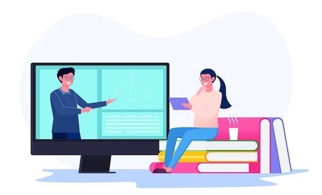 Apprendimento in linea da parte degli studenti con l'insegnante sul concetto di illustrazione dello schermo