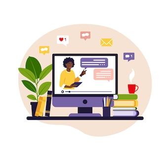 Concetto di apprendimento online. insegnante africano alla lavagna, lezione video.