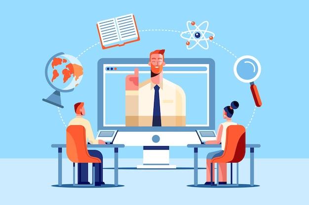 Design piatto del concetto di apprendimento online