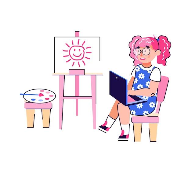 Disegnato a mano di concetto di apprendimento online