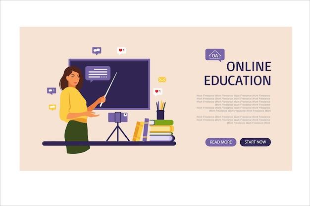 Concetto di apprendimento online. pagina di destinazione dell'istruzione online. insegnante alla lavagna, lezione video. studio a distanza a scuola. illustrazione vettoriale. stile piatto.