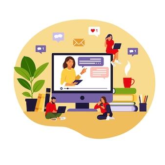 Concetto di apprendimento online. insegnante alla lavagna, lezione video. studio a distanza a scuola. stile piatto.