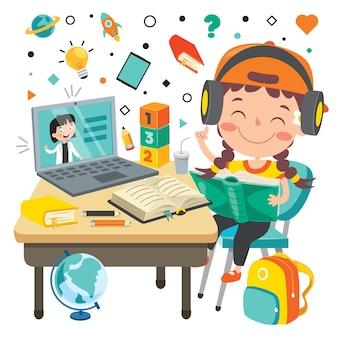 Concetto di apprendimento online con personaggio dei cartoni animati Vettore Premium