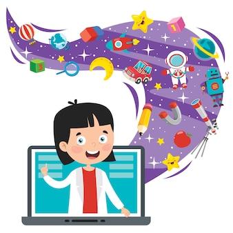 Concetto di apprendimento online con personaggio dei cartoni animati