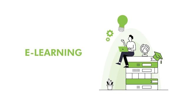 Vettore di modello modificabile di apprendimento online per i post sui social media istruzione nella nuova normalità