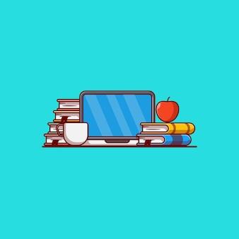 Attrezzatura per l'apprendimento online illustrazione vettoriale computer libro caffè e mela