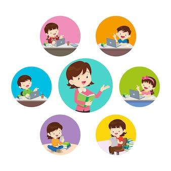 Bambini di apprendimento online. insegnante online sul monitor del computer. bambini che studiano a casa via internet.