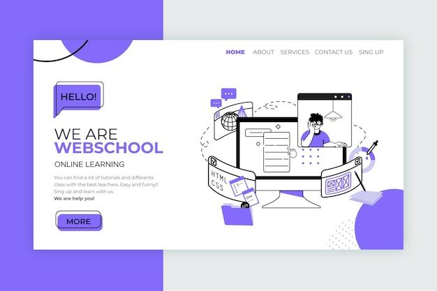 Modello di pagina di destinazione per l'apprendimento online