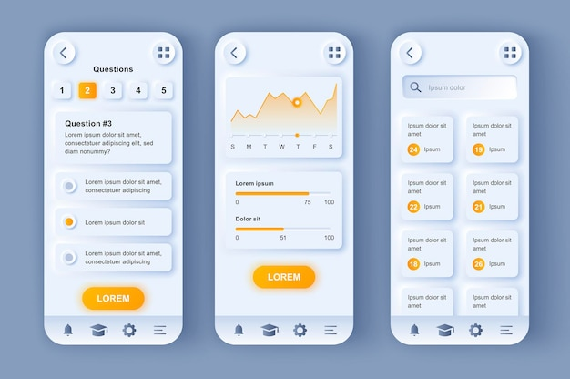 App mobile per l'interfaccia utente di progettazione neumorfica moderna di apprendimento online