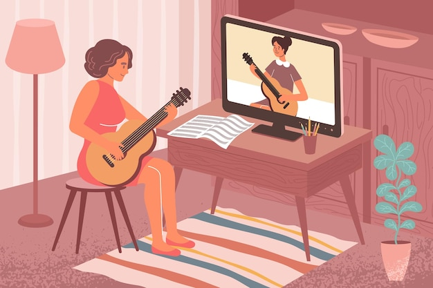 Composizione piatta di musica per l'apprendimento online con scenario del soggiorno e ragazza che suona la chitarra con l'illustrazione del tutor remoto