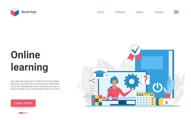 Tecnologia di apprendimento online landing page formazione per insegnanti video corso web a distanza