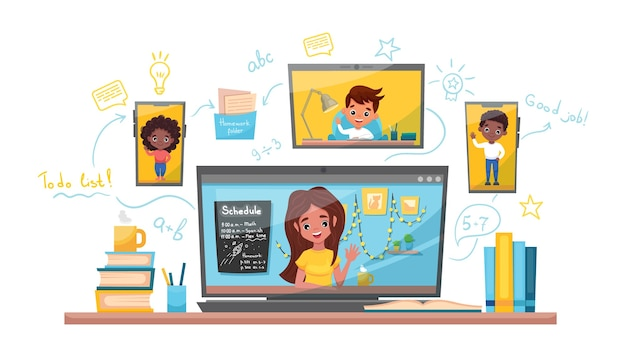 Illustrazione di riserva di vettore di apprendimento online. studio a casa, test online, concetto di apprendimento a distanza